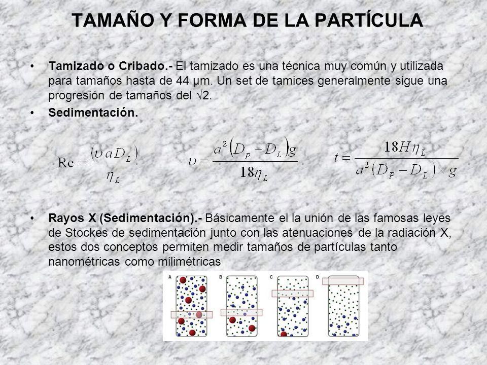 TAMAÑO Y FORMA DE LA PARTÍCULA