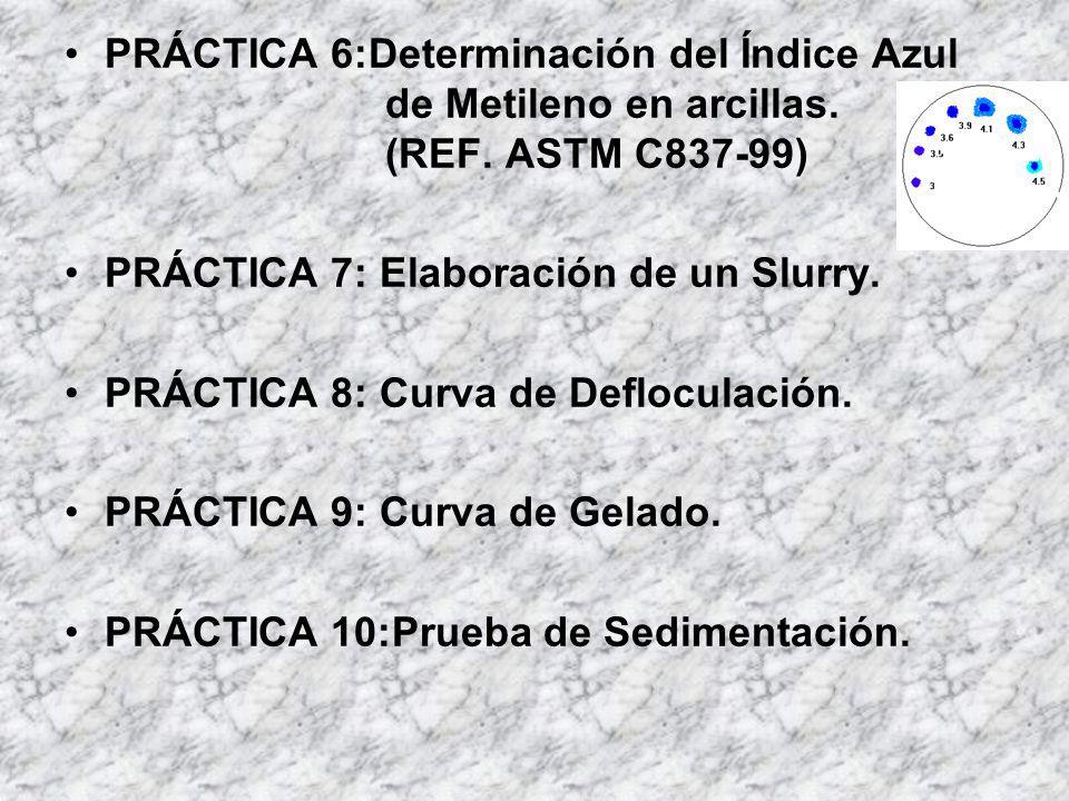 PRÁCTICA 6:Determinación del Índice Azul de Metileno en arcillas. (REF. ASTM C837-99)