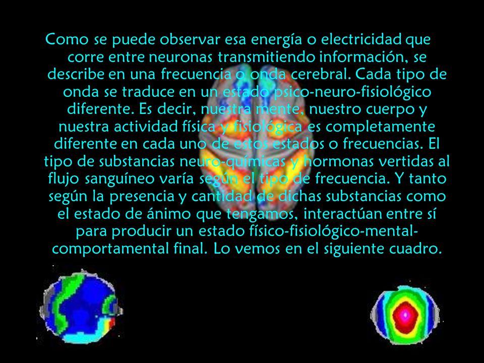 Como se puede observar esa energía o electricidad que corre entre neuronas transmitiendo información, se describe en una frecuencia o onda cerebral.