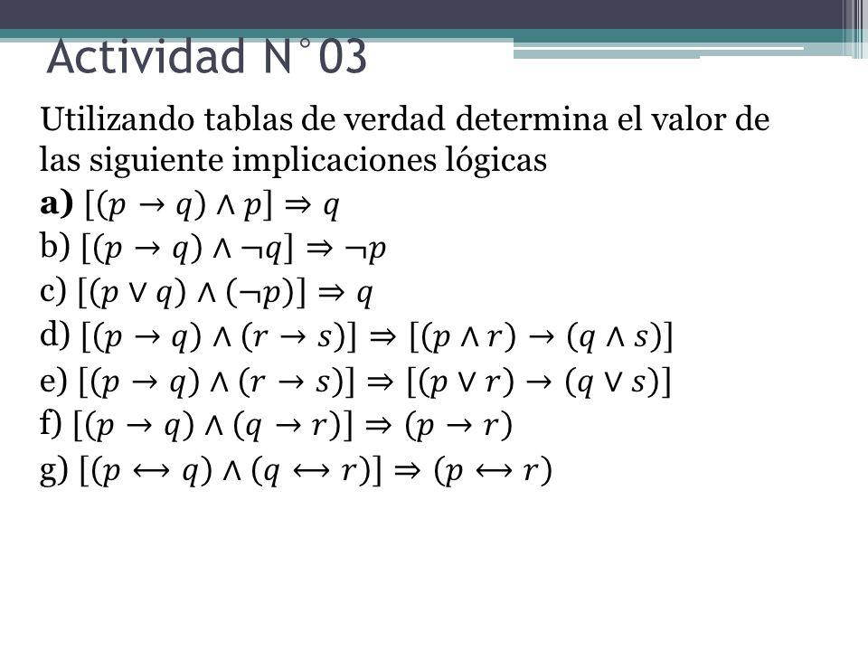 Actividad N°03 Utilizando tablas de verdad determina el valor de las siguiente implicaciones lógicas.