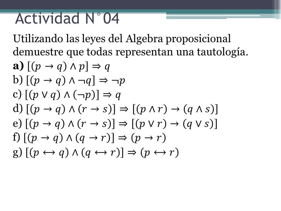 Actividad N°04 Utilizando las leyes del Algebra proposicional demuestre que todas representan una tautología.