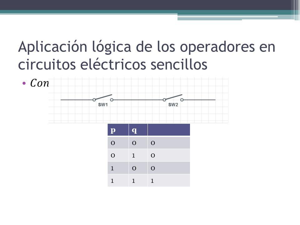 Aplicación lógica de los operadores en circuitos eléctricos sencillos
