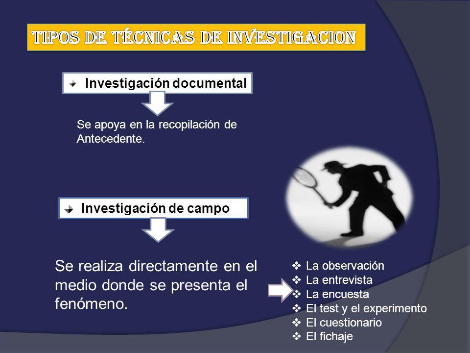 TIPOS DE TÉCNICAS DE INVESTIGACION