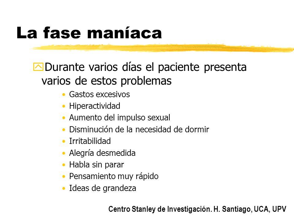 La fase maníaca Durante varios días el paciente presenta varios de estos problemas. Gastos excesivos.