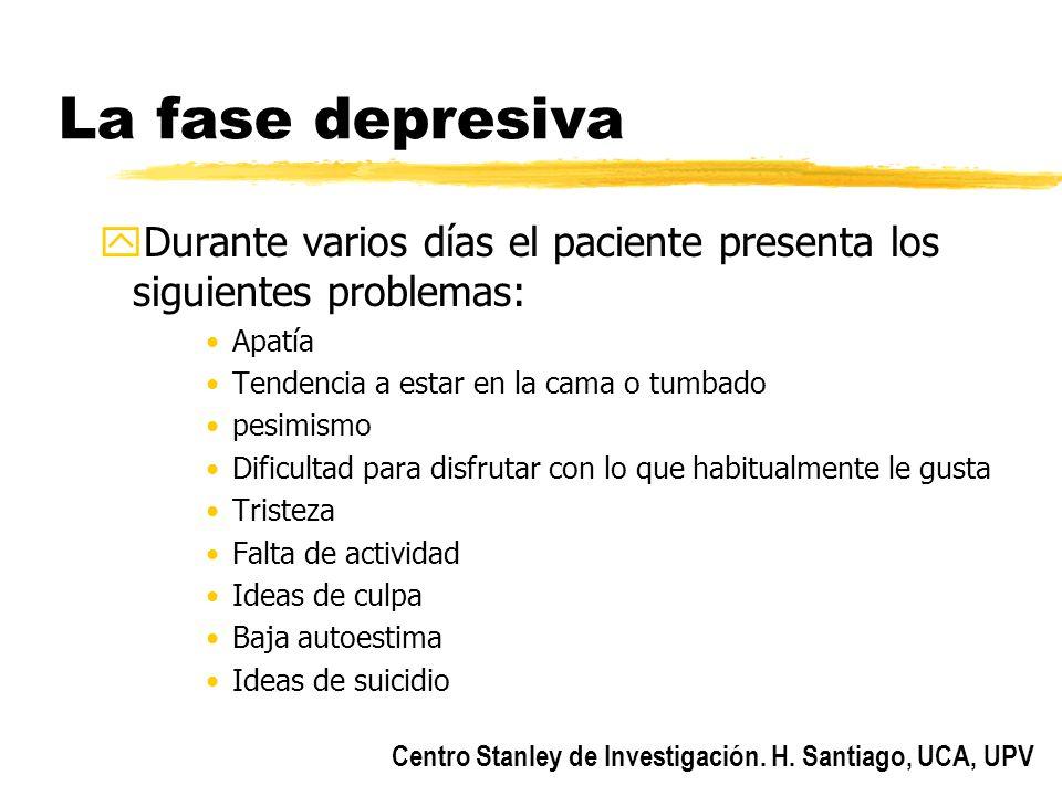 La fase depresiva Durante varios días el paciente presenta los siguientes problemas: Apatía. Tendencia a estar en la cama o tumbado.