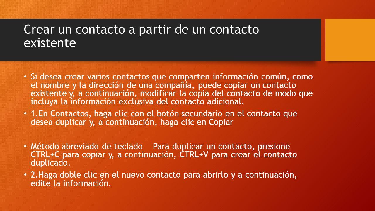 Crear un contacto a partir de un contacto existente