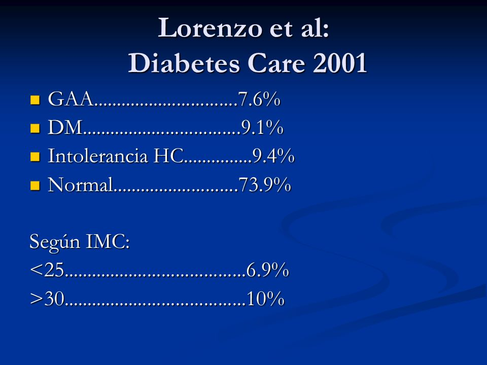 Lorenzo et al: Diabetes Care 2001