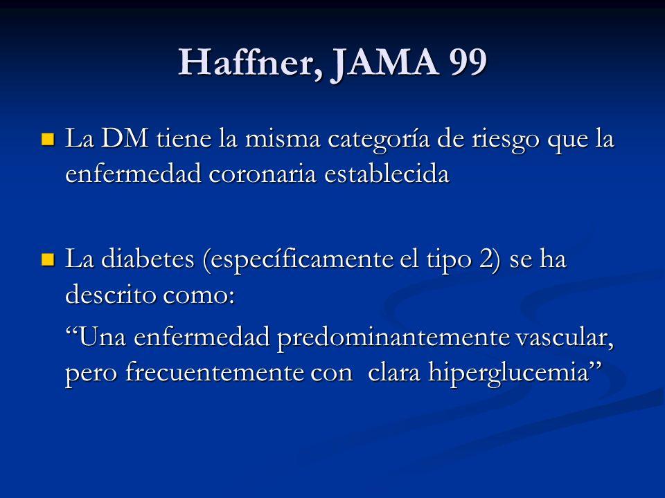 Haffner, JAMA 99La DM tiene la misma categoría de riesgo que la enfermedad coronaria establecida.