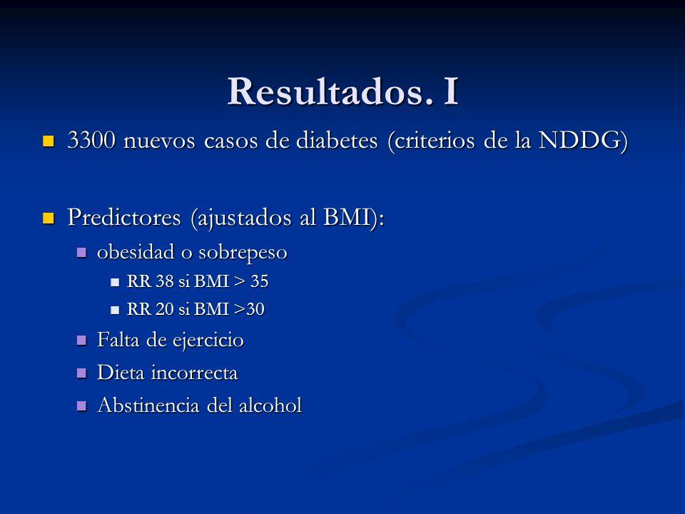 Resultados. I 3300 nuevos casos de diabetes (criterios de la NDDG)