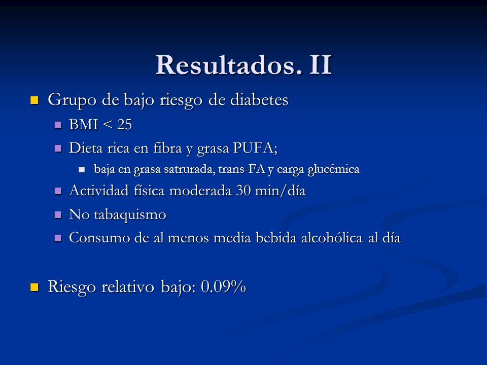 Resultados. II Grupo de bajo riesgo de diabetes