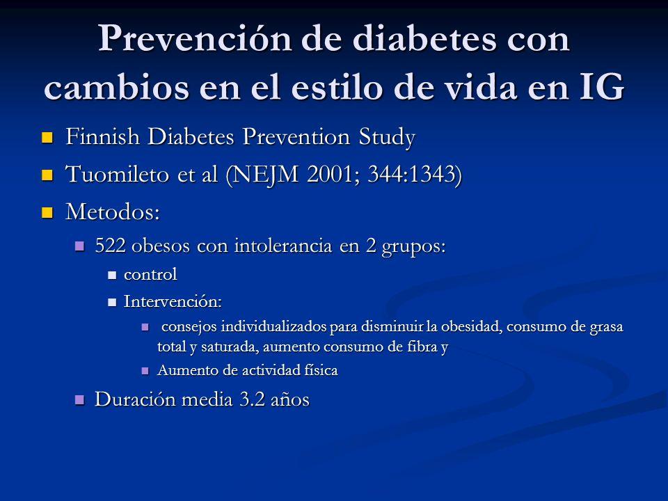 Prevención de diabetes con cambios en el estilo de vida en IG