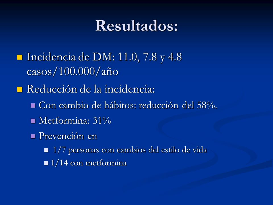Resultados: Incidencia de DM: 11.0, 7.8 y 4.8 casos/100.000/año