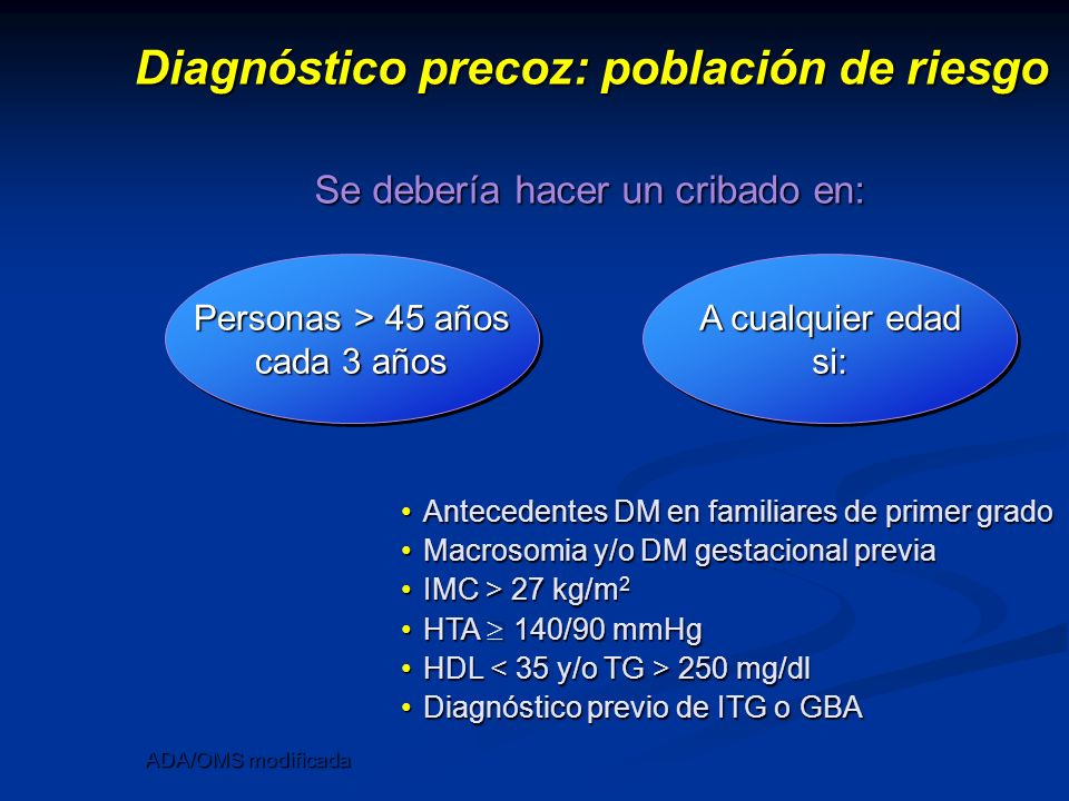 Diagnóstico precoz: población de riesgo