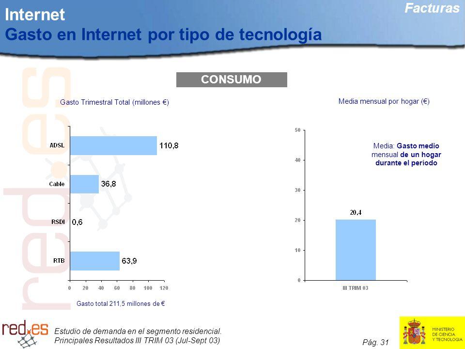 Internet Gasto en Internet por tipo de tecnología