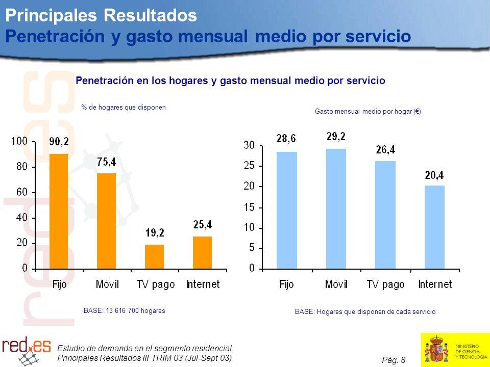 Principales Resultados Penetración y gasto mensual medio por servicio