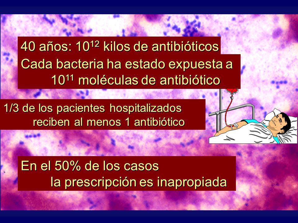 40 años: 1012 kilos de antibióticos Cada bacteria ha estado expuesta a