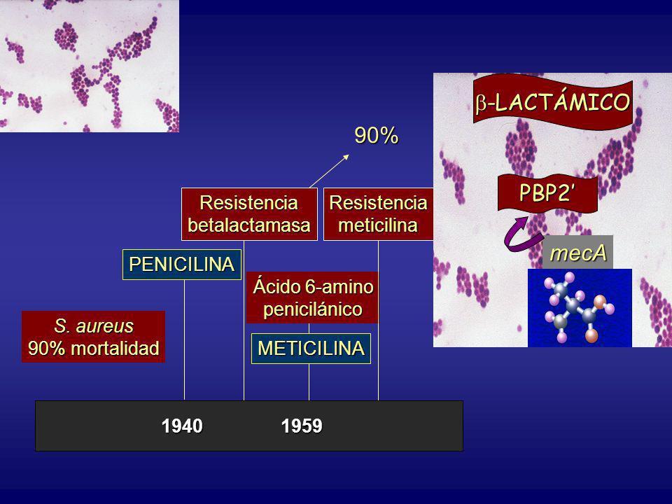 -LACTÁMICO 90% PBP2' mecA 1940 1959 S. aureus 90% mortalidad