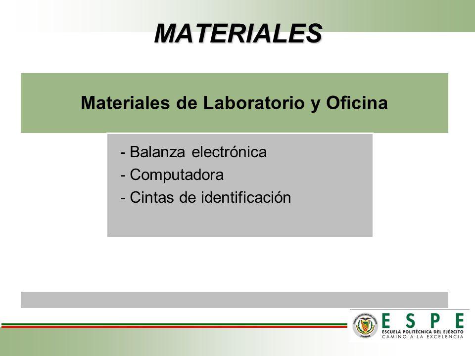 Materiales de Laboratorio y Oficina