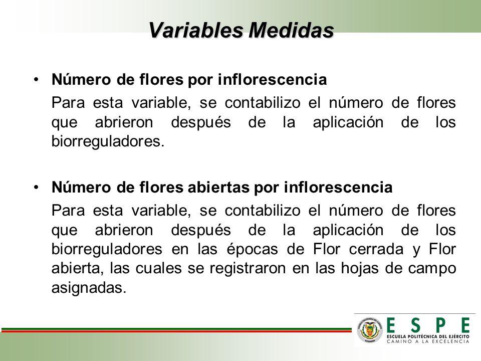 Variables Medidas Número de flores por inflorescencia