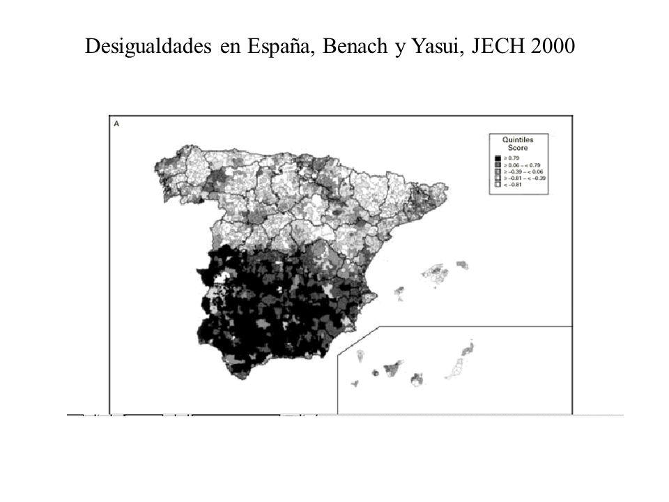 Desigualdades en España, Benach y Yasui, JECH 2000