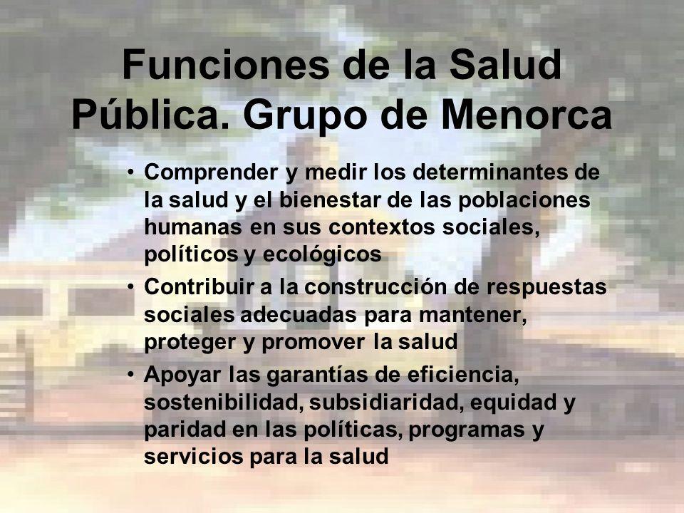 Funciones de la Salud Pública. Grupo de Menorca