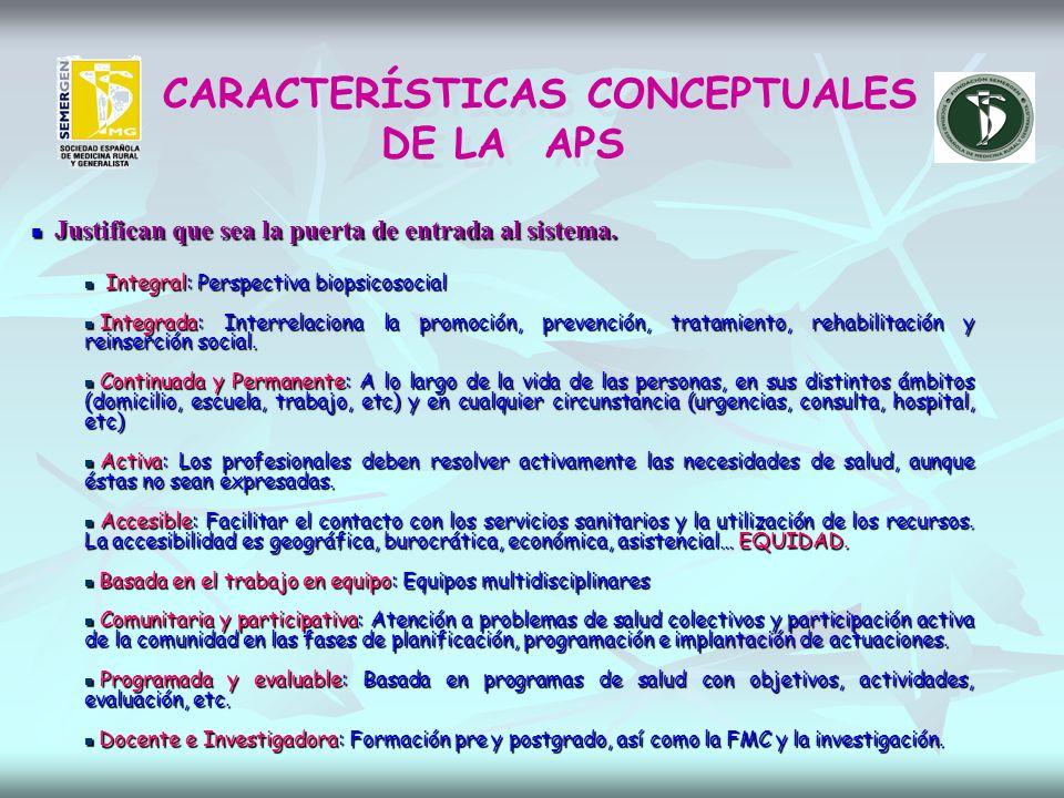 CARACTERÍSTICAS CONCEPTUALES DE LA APS