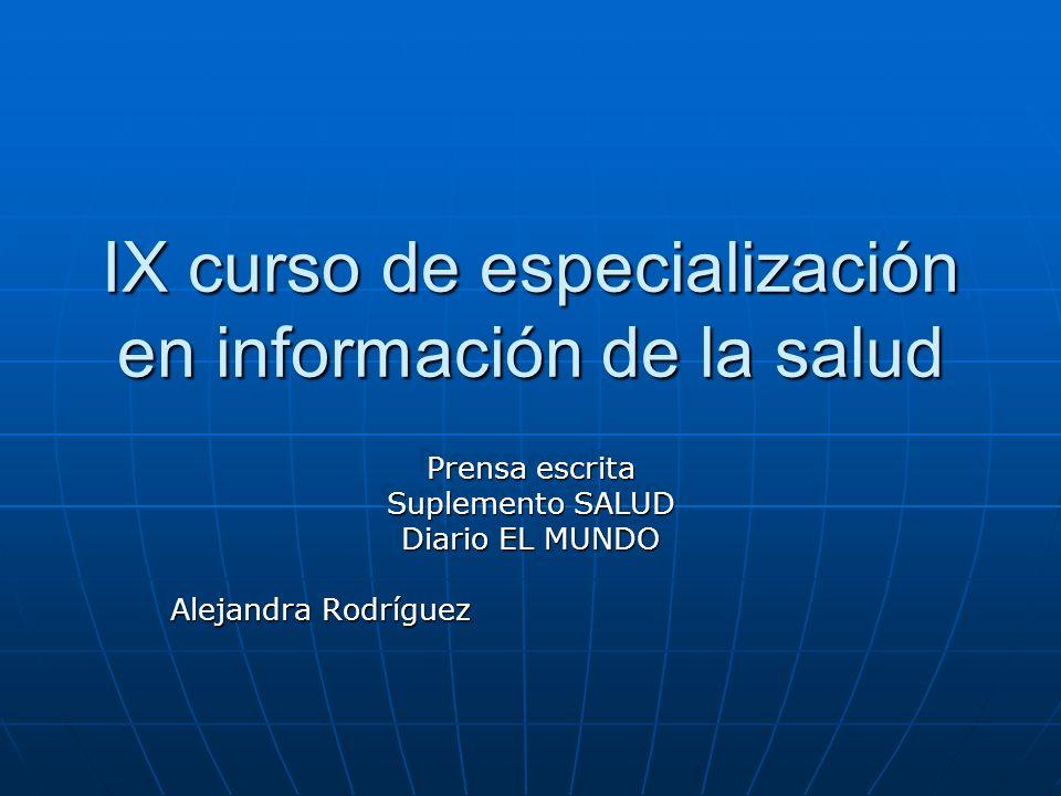 IX curso de especialización en información de la salud
