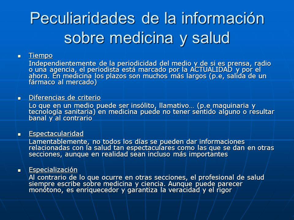 Peculiaridades de la información sobre medicina y salud