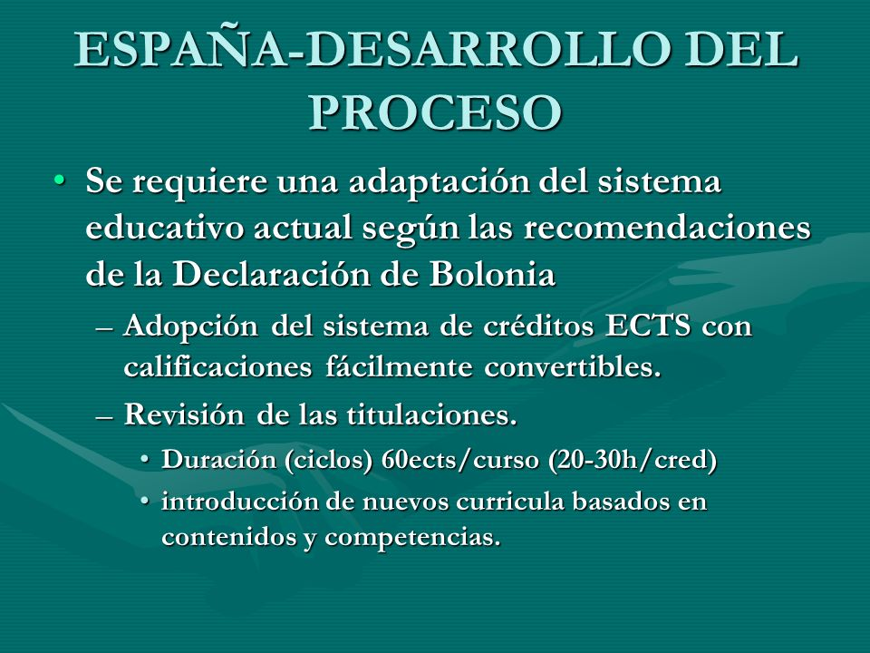 ESPAÑA-DESARROLLO DEL PROCESO