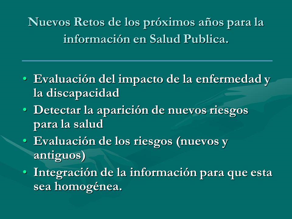 Nuevos Retos de los próximos años para la información en Salud Publica.