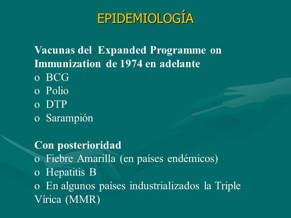 EPIDEMIOLOGÍA Vacunas del Expanded Programme on Immunization de 1974 en adelante. BCG. Polio.