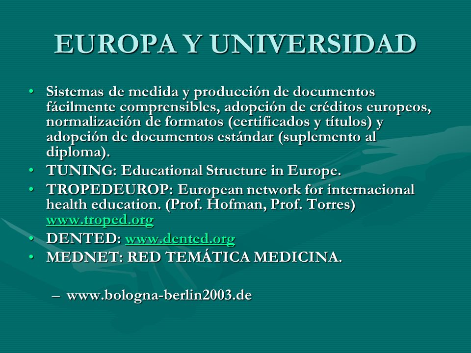 EUROPA Y UNIVERSIDAD