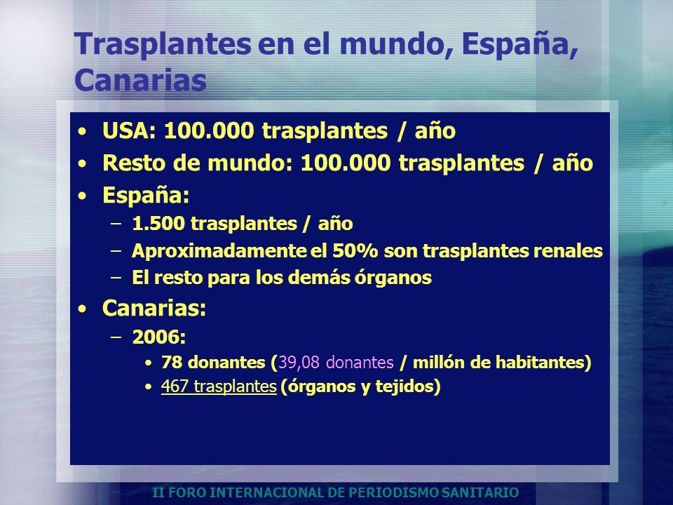 Trasplantes en el mundo, España, Canarias