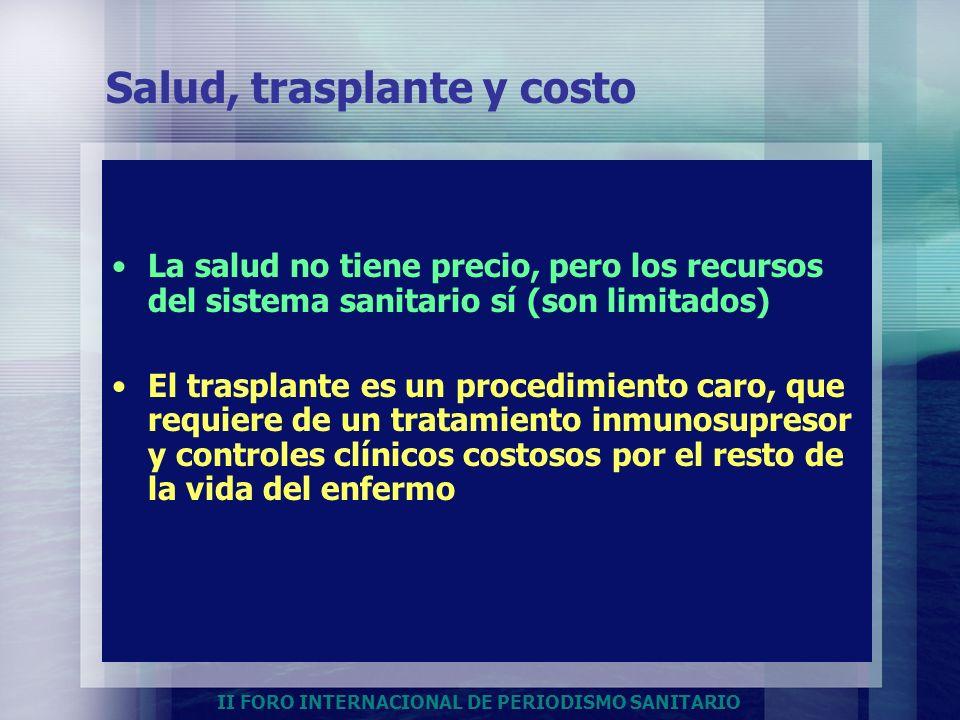 Salud, trasplante y costo