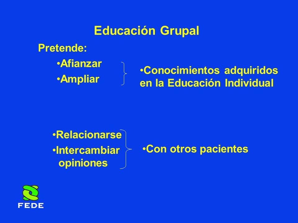 Educación Grupal Pretende: Afianzar Ampliar