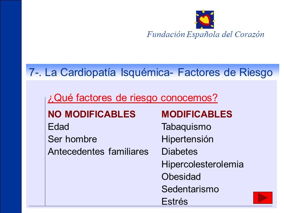 7-. La Cardiopatía Isquémica- Factores de Riesgo