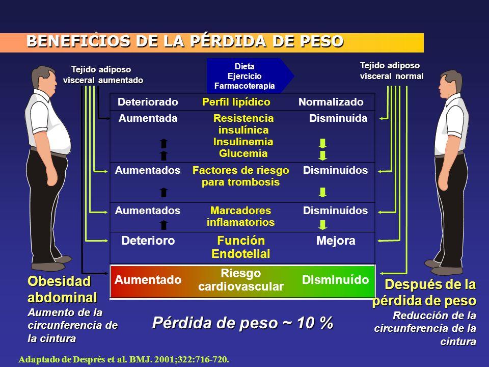 Pérdida de peso ~ 10 % BENEFICIOS DE LA PÉRDIDA DE PESO Obesidad