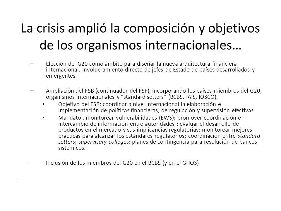 La crisis amplió la composición y objetivos de los organismos internacionales…