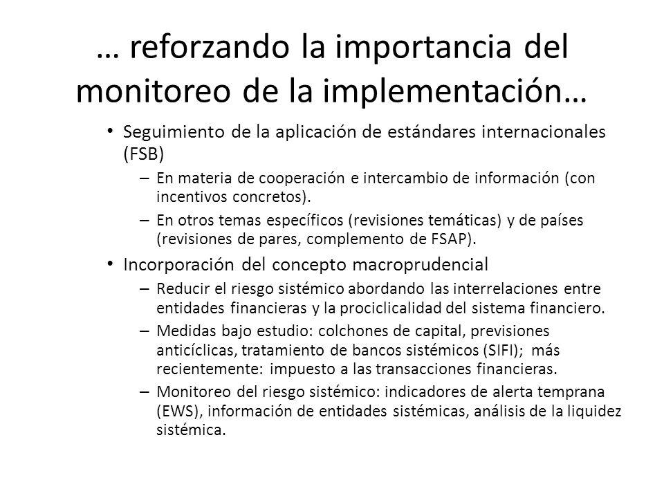 … reforzando la importancia del monitoreo de la implementación…