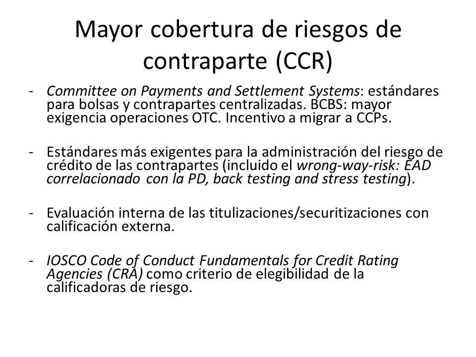 Mayor cobertura de riesgos de contraparte (CCR)