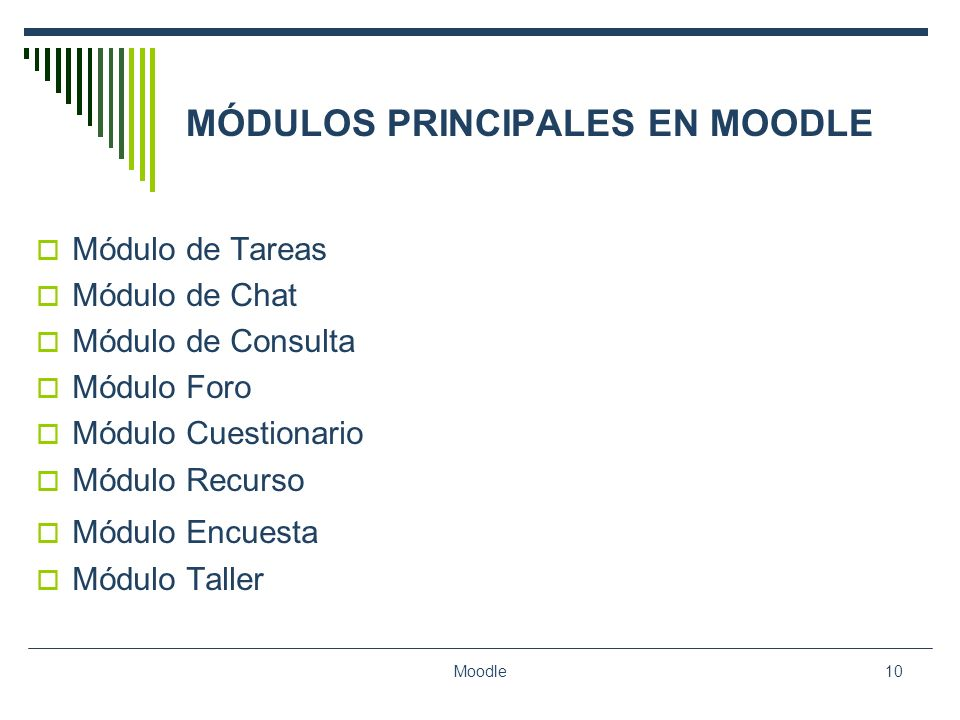 MÓDULOS PRINCIPALES EN MOODLE