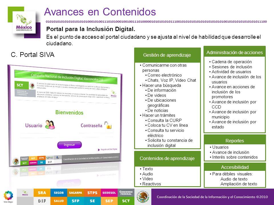 Avances en Contenidos C. Portal SIVA Portal para la Inclusión Digital.