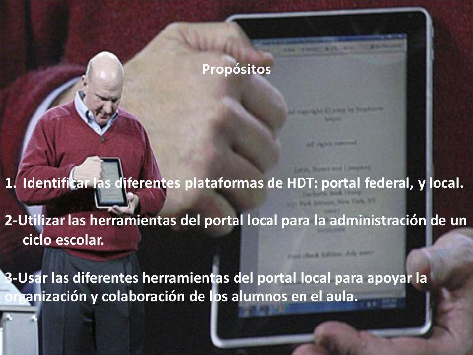 Propósitos Identificar las diferentes plataformas de HDT: portal federal, y local.