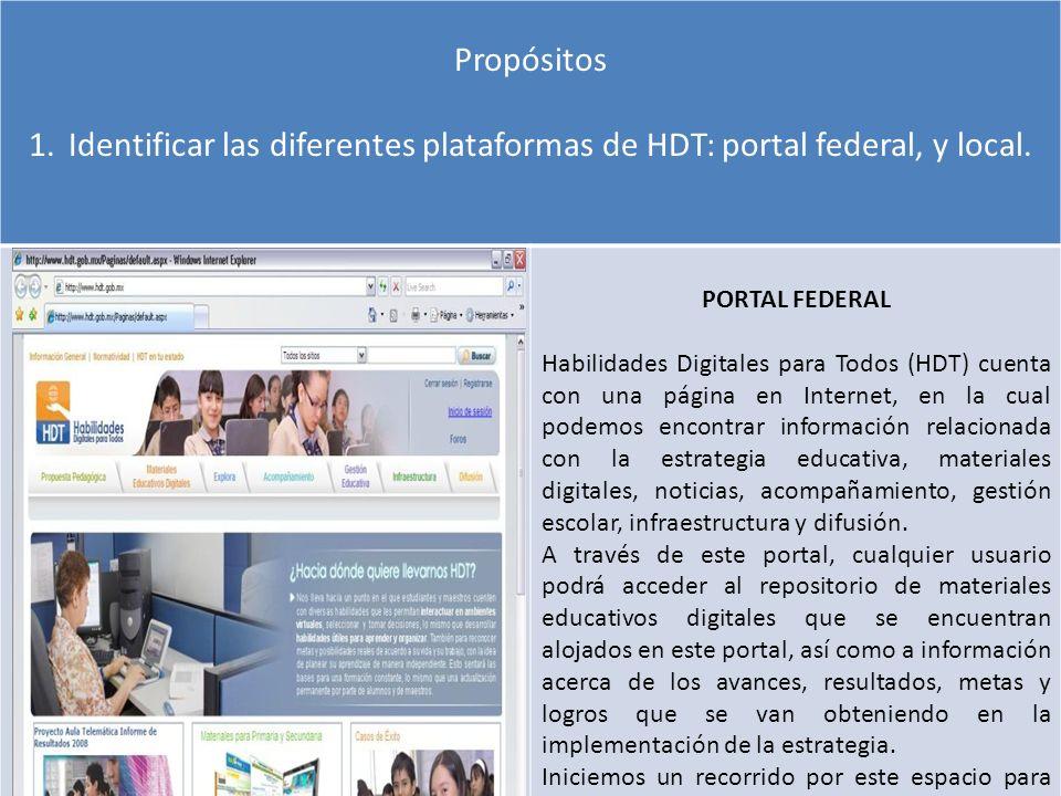 Propósitos Identificar las diferentes plataformas de HDT: portal federal, y local. PORTAL FEDERAL.