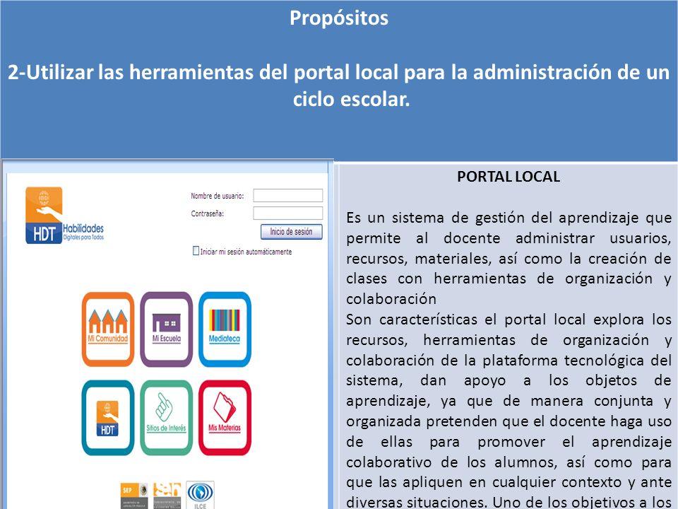 Propósitos2-Utilizar las herramientas del portal local para la administración de un ciclo escolar. PORTAL LOCAL.