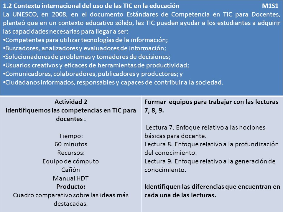 Identifiquemos las competencias en TIC para docentes .