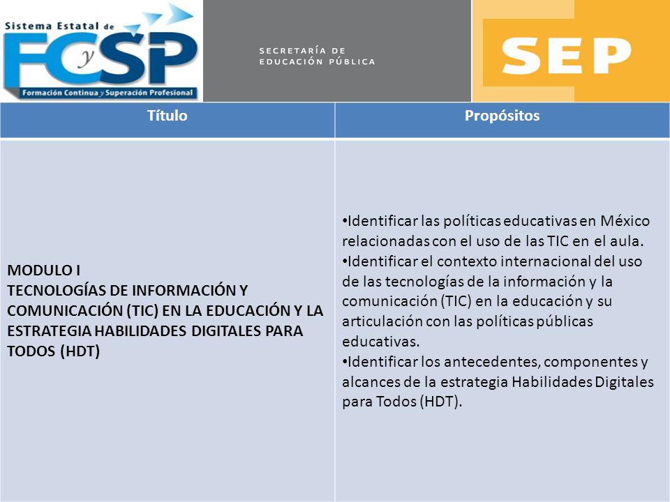 Título Propósitos. MODULO I. TECNOLOGÍAS DE INFORMACIÓN Y COMUNICACIÓN (TIC) EN LA EDUCACIÓN Y LA ESTRATEGIA HABILIDADES DIGITALES PARA TODOS (HDT)