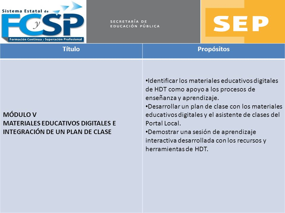 TítuloPropósitos. MÓDULO V. MATERIALES EDUCATIVOS DIGITALES E INTEGRACIÓN DE UN PLAN DE CLASE.