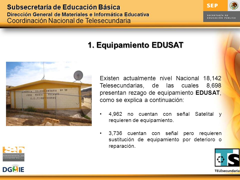 1. Equipamiento EDUSAT Coordinación Nacional de Telesecundaria