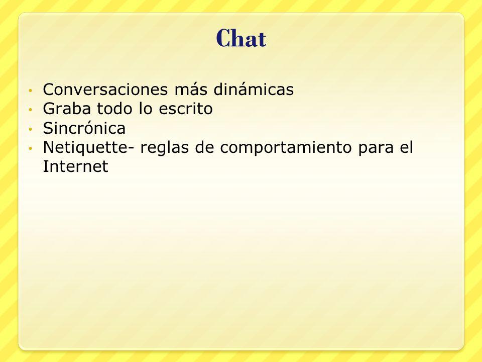 Chat Conversaciones más dinámicas Graba todo lo escrito Sincrónica